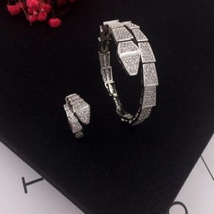 Fashion snake bracelet ring set with micro-inlaid zircon opening adjustable NHWK171984's discount tags