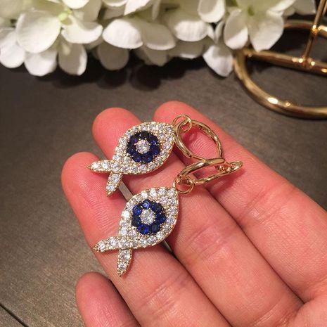 Fashion sweet cute cartoon animal fish earrings micro-inlaid zircon NHWK171979's discount tags