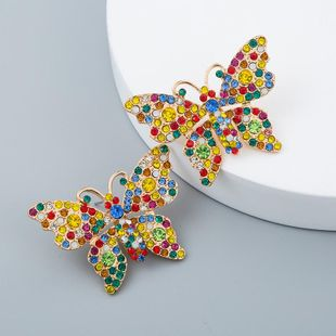 Alloy Color Butterfly with Rhinestone Earrings Vintage Christmas NHLN171916's discount tags