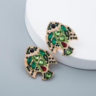 Colorful diamond fish earrings alloy creative pearl earrings female NHLN171918's discount tags