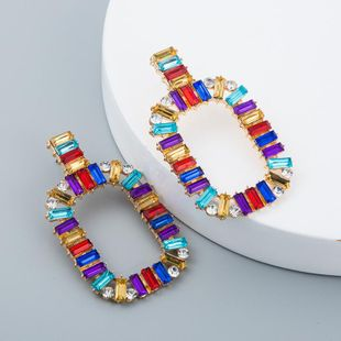 Fashion simple rainbow earrings alloy diamond square color acrylic female NHLN171922's discount tags