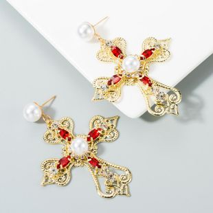 Earrings women's fashion retro baroque diamond cross long paragraph with pearl earrings NHLN171928's discount tags