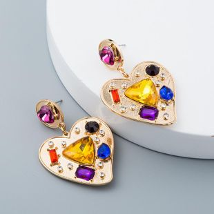 Fashion vintage earrings female heart shaped geometric color NHLN171929's discount tags