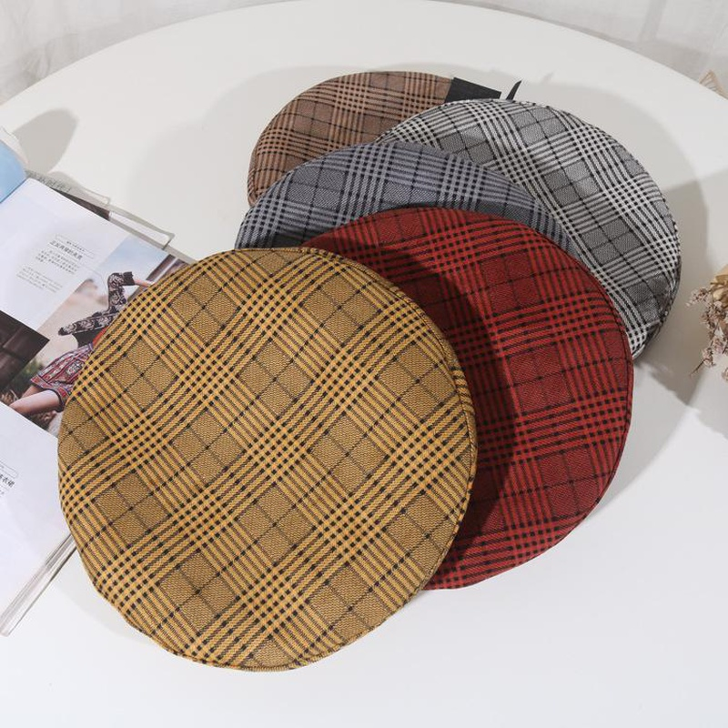 Beret female retro plaid literary painter hat NHHY172397