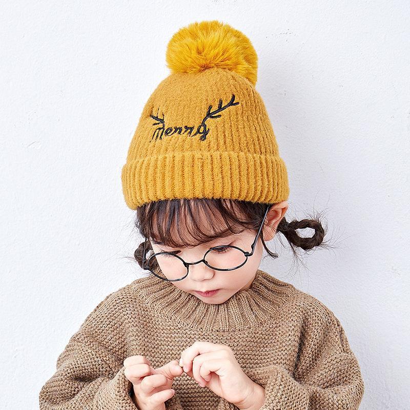 Children's hat warm wool ball cap hat sweet cute girl elk wool knit hat NHXO171643