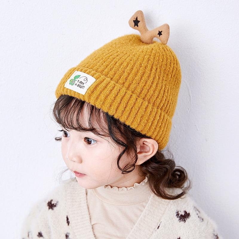 New children's wool hat cartoon dinosaur label warm caps baby knit cap NHXO171645