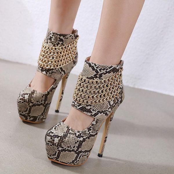 Nueva cremallera de cadena de metal de serpiente zapatos de tacón súper zapatos huecos 34-40 NHCA171545