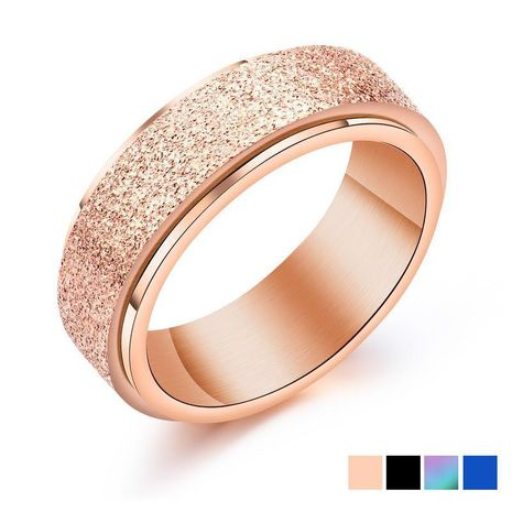 Colorful titanium steel ladies ring stainless steel matte rotatable ring NHOP172214's discount tags