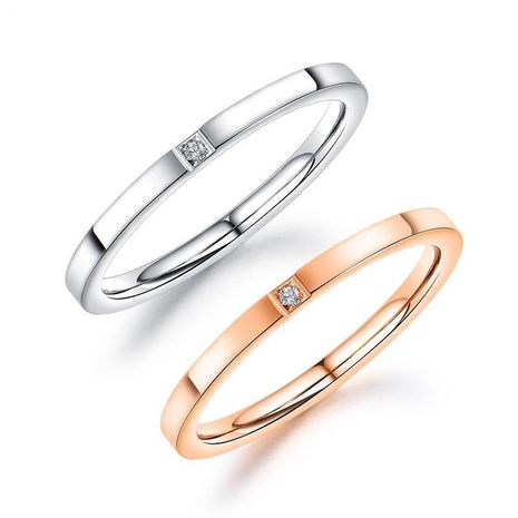 O rose gold single diamond titanium steel ladies ring simple fashion accessories NHOP172215's discount tags