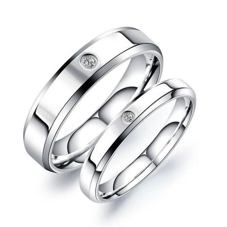 New micro-set diamond stainless steel ring titanium steel couple ring NHOP172216's discount tags