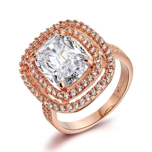 Luxury diamond-studded square zircon ring vintage bridal jewelry NHLJ172255
