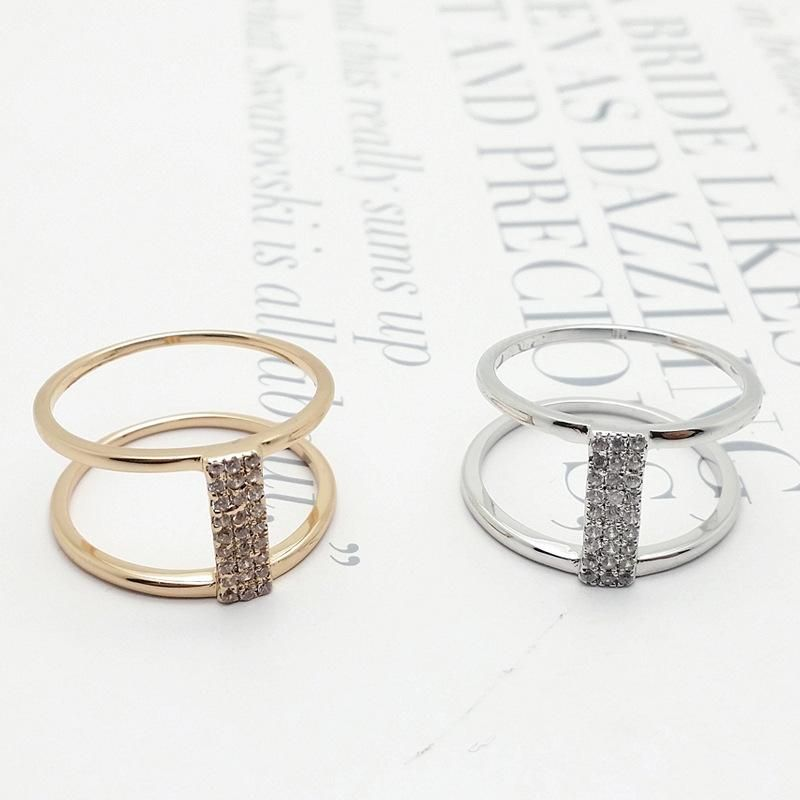 Fashion womens double diamond ring NHLJ172259