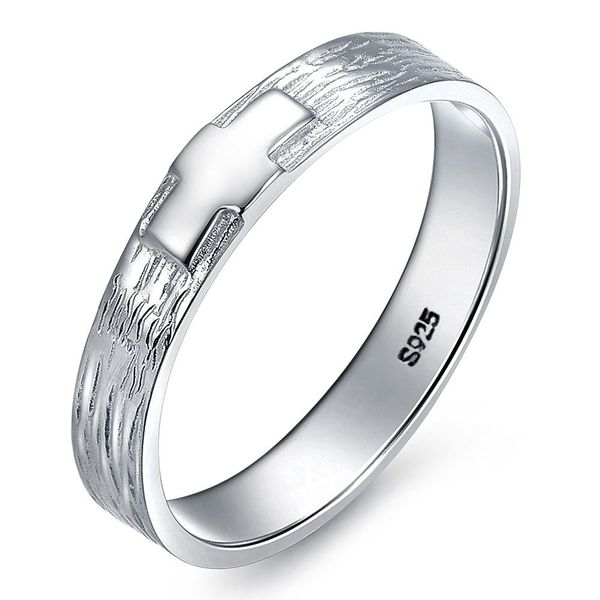 925 Sterling Silver Ring Scrub Scale Cross Ring NHLJ172321