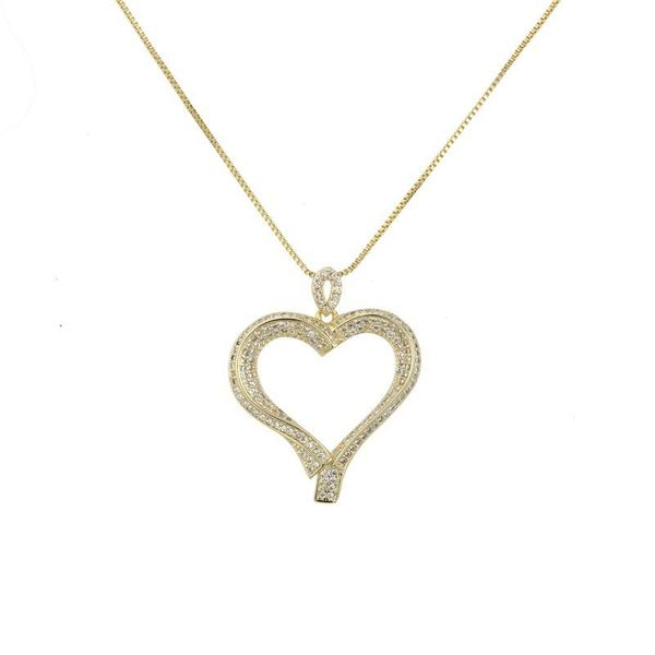 Heart-shaped inlaid zircon hollow love necklace copper plated fashion necklace NHBP172131