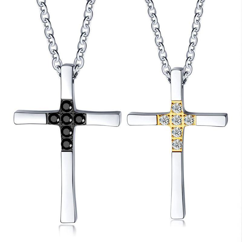 Simple stainless steel diamond pendant couple titanium steel necklace NHOP172146