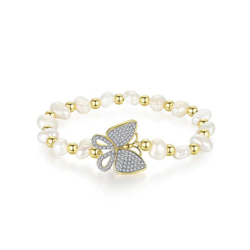 Fashion ladies pearl bracelet new copper inlaid zirconium butterfly bracelet NHTM172230