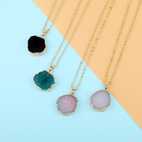 New Fashion Irregular Round Pendant Necklace Imitation Natural Stone Resin Retro NHGO171820's discount tags
