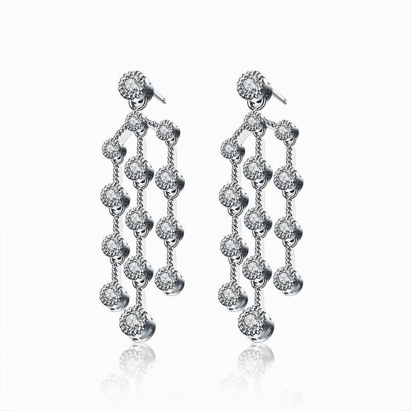 Zircon tassel earrings long sweet earrings NHLJ172256