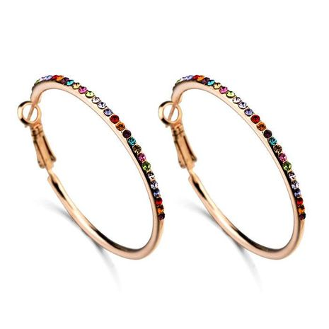 Fashion inlaid colorful Austrian crystal circle earrings female alloy earrings NHLJ172319's discount tags