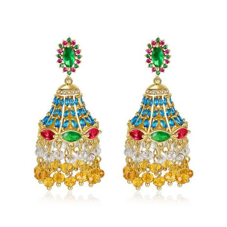 Retro hollow luxury micro-inlaid zircon earrings NHTM172238's discount tags