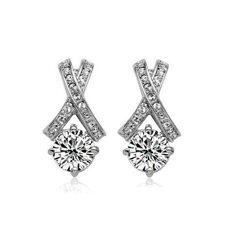 Exquisite and simple electroplating gold anti-allergic cross zircon earrings NHLJ172309's discount tags