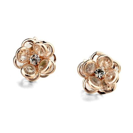 New zircon earrings unique transparent petal flower earrings NHLJ172315's discount tags