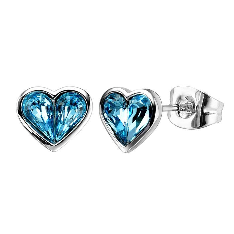 Heart Shaped Simple Austrian Crystal Stud Earrings Girls Earrings NHLJ172266