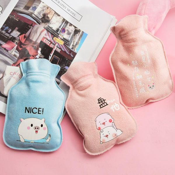 Cartoon flocking hot water bottle cute suede warm water treasure student warm water bag water injection bag custom wholesale 300ml NHHE172503