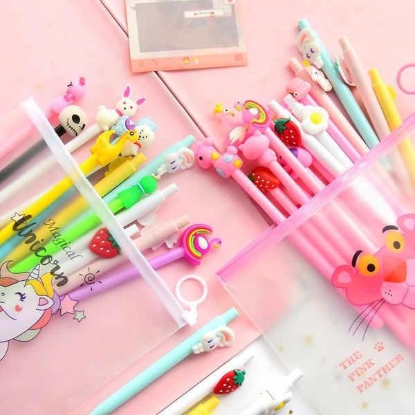 Cartoon Pink Gel Pen 20 Set Black Pen Student Stationery Pen NHHE172437