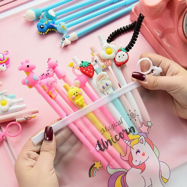 Cartoon Pressing Pink Gel Pen 10 Set Black Pen Student Stationery Pen NHHE172439