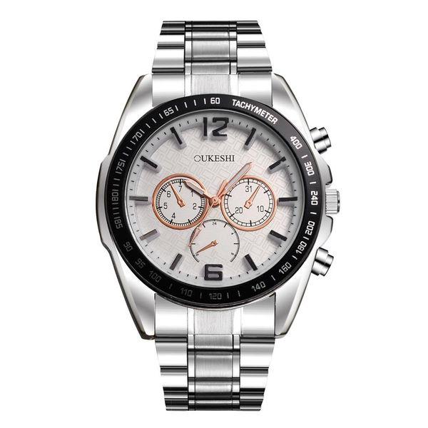 New high-end men's steel belt watch large dial three-eye quartz watch NHSY172407