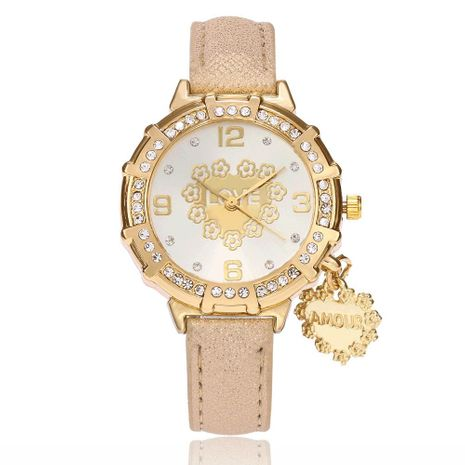 New fashion ladies fashion watch simple peach heart pendant belt watch NHSY172408's discount tags
