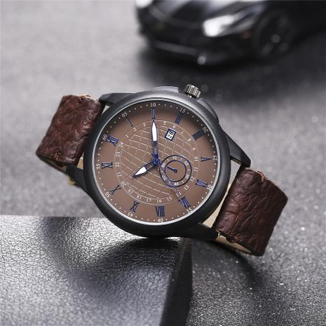 New men's single calendar casual digital Roman scale quartz watch belt watch NHHK172345's discount tags
