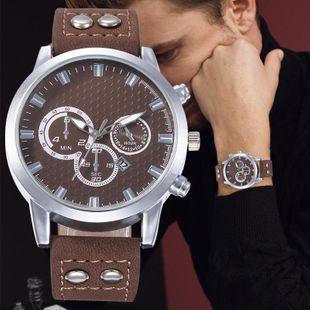 New men's casual single calendar three-eyed Roman scale belt quartz watch NHHK172350's discount tags