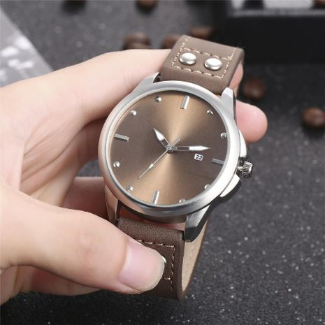 New men's single calendar casual rivet scale quartz watch belt watch NHHK172352's discount tags