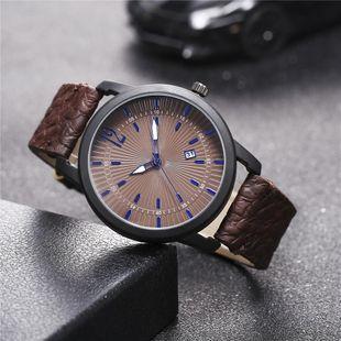 New men's single calendar casual Roman scale quartz watch belt watch NHHK172364's discount tags