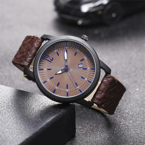 New men's single calendar casual Roman scale quartz watch belt watch NHHK172364's discount tags
