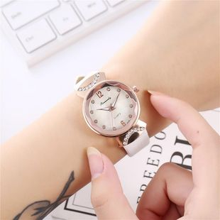Ladies fashion rhinestone inlaid scale small belt quartz watch NHHK172360's discount tags