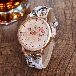 New cartoon cat lady belt watch cute casual watch NHHK172365's discount tags