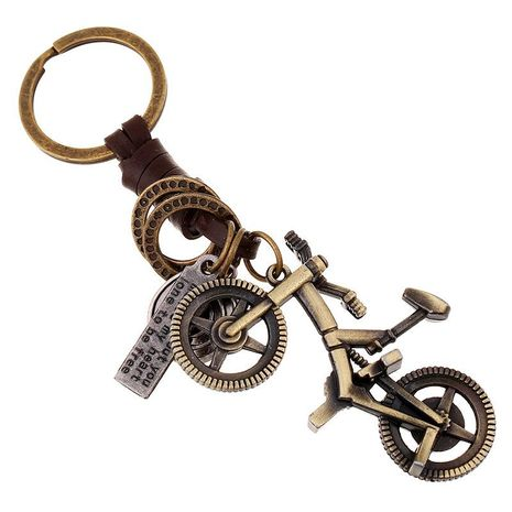 Creative Keychain Small Gift Alloy Bicycle Vintage Woven Leather Keychain Leather Pendant NHPK172207's discount tags