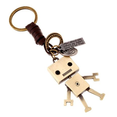 Handmade Woven Leather Keychain Alloy Robot Creative Leather Keychain Backpack Pendant NHPK172208's discount tags
