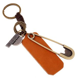 Pure hand-woven leather rope car key chain couple key ring chain creative pin leather pendant NHPK172211's discount tags