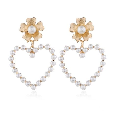 Harajuku Vintage Geometric Heart Shaped Hollow Hearts Sweet Pearl Earrings NHKQ172849's discount tags
