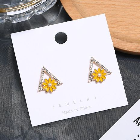 Fashion OL Triangle Cute Geometric Floral Earrings NHKQ172852's discount tags
