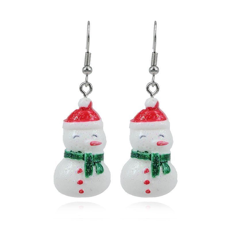 Fashion White Snowman Christmas Theme Jewelry Lady Christmas Earrings NHKQ172855