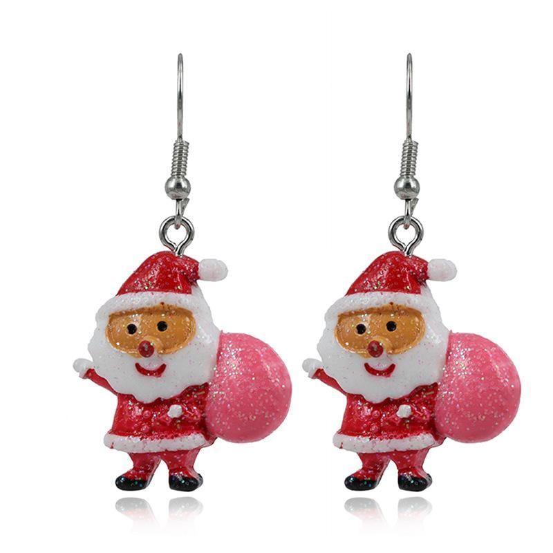 Cute cartoon acrylic colored santa gift earrings NHKQ172856