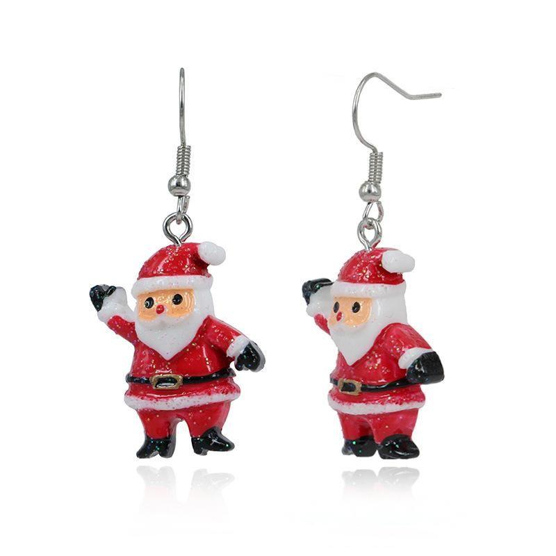 Cute cartoon drip color Santa Claus gift earrings NHKQ172857