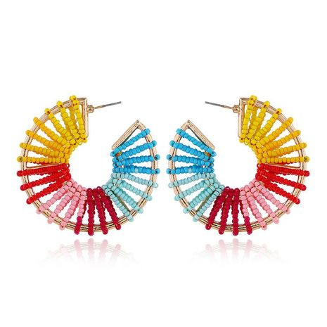 European and American fashion retro fan-shaped hollow rice beads explosion earrings NHKQ172861's discount tags