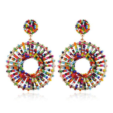 European and American fashion retro circle hollow earrings rice beads NHKQ172860's discount tags