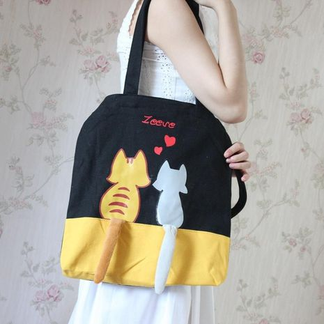 Cute couple cat color print fabric shoulder bag NHNI172759's discount tags